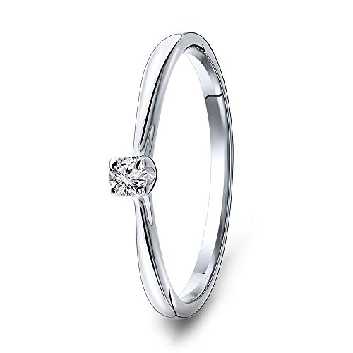 Miore Ring Damen Solitär Diamant Verlobungsring Weißgold 9 Karat / 375 Gold Diamant Brillant 0.07 Ct, Schmuck