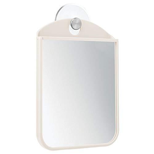 mDesign Specchio da Barba con Ventosa – Pratico Specchio antiappannamento da Appendere in Bagno – Perfetto Come specchietto Doccia e da Trucco – Crema/Argento Opaco