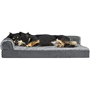 Furhaven Pet Dog Bed – Deluxe Orthopedic Two-Tone Plush Faux Fur and Suede L Shaped Chaise Lounge Sofa-Style Living Room Corner Couch Pet Bed with Removable Cover for Dogs and Cats, Stone Gray, Medium