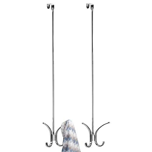 mDesign Modern Metal Long Easy Reach Over-The-Door 4 Prong Hanging Storage Organizer Hook to Hang Jackets Coats Robes Clothing Hats Scarves Purses Leashes Towels 24 Tall 2 Pack - Chrome