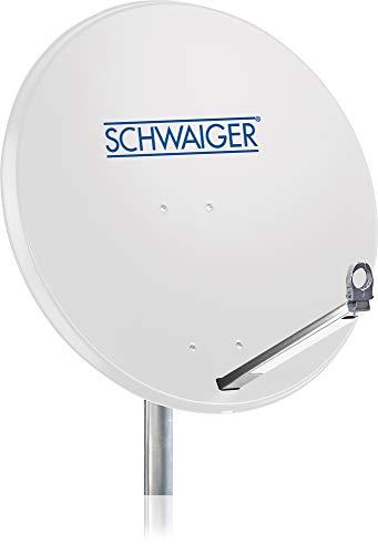 SCHWAIGER -180- Satellitenschüssel, Sat Antenne mit LNB Tragarm und Masthalterung, Sat-Schüssel aus Aluminium, 75 x 85 cm