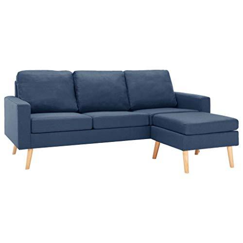 vidaXL Sofa 3-Sitzer mit Hocker Couch Polstersofa Loungesofa Stoffsofa Sitzmöbel Wohnzimmersofa Sofagarnitur Designsofa Blau Stoff