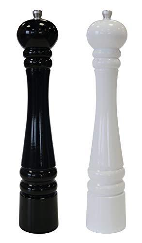 Elegante Pfeffermühle 32cm weiß und schwarz Gewürzmühle, Chilimühle, Verstellbares , Unbefüllt, Skandinavisches Design