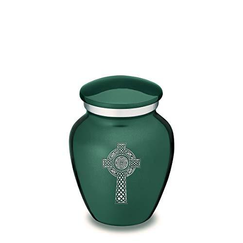GetUrns Mini Keepsake Embrace Celtic Cross Cremation Urn (Green)