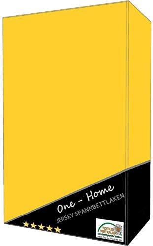one-home 2er Pack Spannbettlaken gelb 90-100 cm x 200 cm (Jersey) 100% Baumwolle mit Rundumgummizug