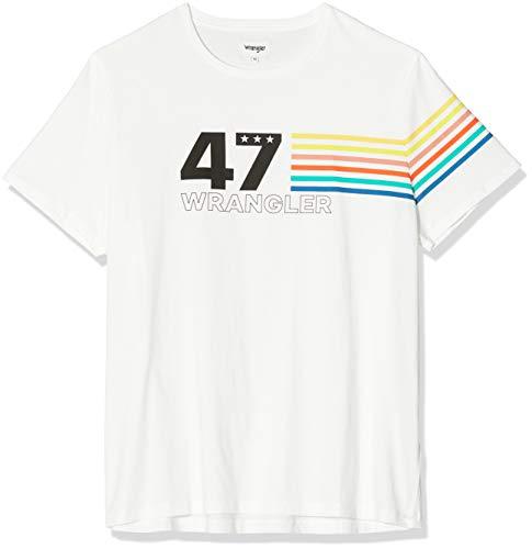Wrangler SS Rainbow tee Camiseta, Marfil (Off White 737), Large para Hombre