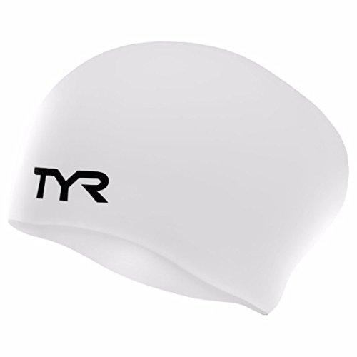 TYR Silikon-Badekappe für langes Haar, faltenfrei, Weiß