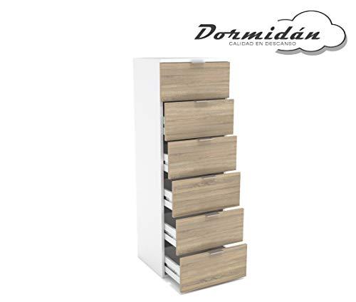 Dormidán- Sinfonier 6 cajones guías metálicas, cómoda Dormitorio, Altura 117cm. (Blanco cajones Roble)