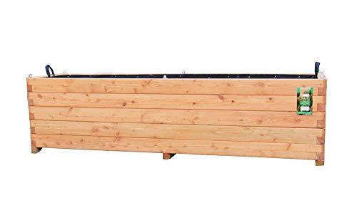 HOQ Pflanzkasten 140x50x50cm aus Lärche geschraubt mit Vlies, gerundeten Ecken und Griffen