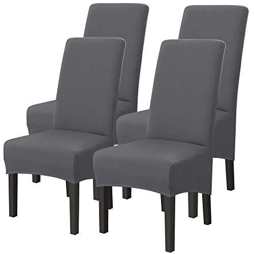 Stuhlhussen mit hoher Rückenlehne, 4er Set, Esszimmerstühle Stretch Stuhlhussen Küchenstühle Sitzbezüge Küchenstuhlschoner