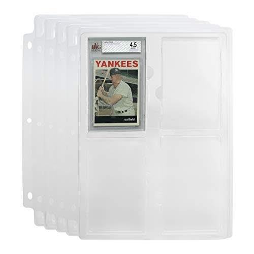 Simply Genius (5 Pack Collectible Cards Slabs Storage Tray Holder for Graded Sports Cards and Trading Cards Binder Tray 3 Ring Trading Card Binder Pages Fits Cards Graded by Beckett
