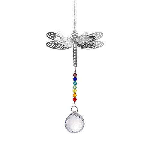 longsheng Tier-Anhänger Libelle Kristall Kugel Prismen Regenbogen Perlen Chakra Sonnenfänger Heim Fenster Dekor (Typ 1)