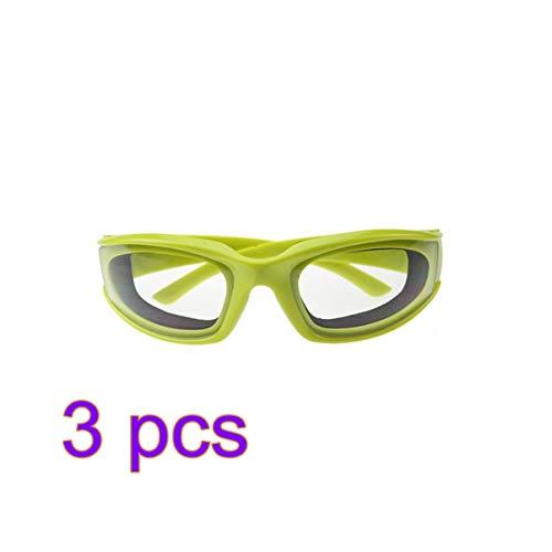 Óculos de cebola Hemoton 3 peças sem rasgos para cortar, óculos de proteção para os olhos, para cozinhar, churrasco, cozinha, óculos de proteção - verde