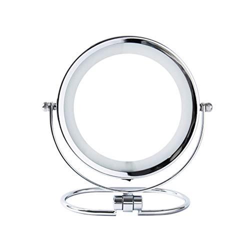 Miroir de maquillage pliant à double face LED 6 pouces 3 fois loupe Miroir de coiffeuse miroir argent HD rotatif à 360 degrés, Silver