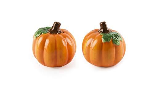 Excelsa Zucca Set zout en peper Halloween, keramiek siliconen stop, oranje, afmetingen: 6 x 6 cm
