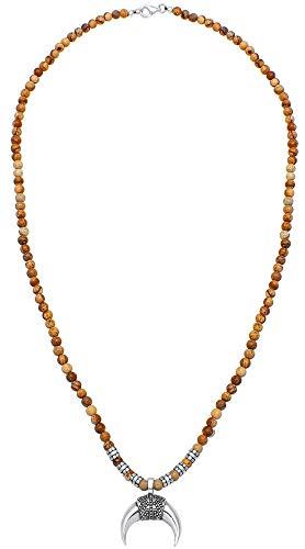 Kuzzoi Collar Buda para hombre de 4 mm de ágata marrón, piedras preciosas y colgante de media luna y elementos de plata de ley 925, longitud 60 cm, 0101940819_60