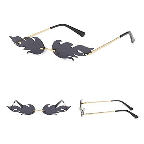 Bumplebee Flammen Sonnenbrille Damen Herren Metall Rahmenlose Sonnenbrillen Mode Vintage Punk-Stil Brille Sunglasses (Schwarz)