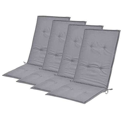 vidaXL 4X Gartenstuhl Auflage für Hochlehner Kissen Sitzkissen Stuhlkissen Polster Stuhlauflage Sitzauflagen Sitzpolster Grau 120x50x3cm