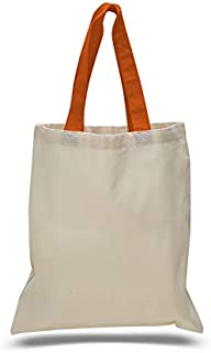 Q-Tees QTB6000 Economical Tote Bag with Colored Handles-Texas Orange-ONE