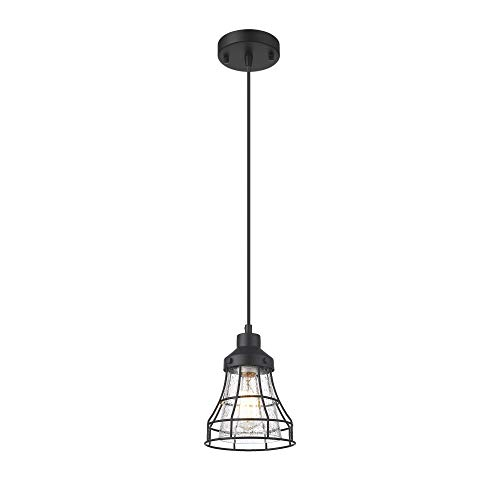 VICNIE 1-Light Mini Pendant Light, Farmhouse Hanging Light Fixture with Adjustable Cords, Seeded Glass Shade, Metal Frame, Black Finish for Kitchen Islands, Dining Room