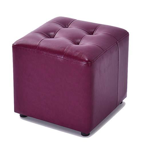 CKH Lederen Kleine Kruk Kinderstoel Modieuze Sofa Kruk Thuis Woonkamer Dressing Tafel Effen Hout Lage Vierkante Kruk