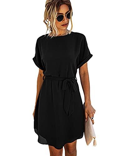 DIDK Damen Tunika Kleid Rundkragen Chiffonkleid Hohe Taille Sommerkleid Kurz Kleider Freizeitkleid mit Gürtel Schwarz XL