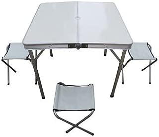 Amaze Folding Aluminium Picnic Garden, Outdoor, Farm House, Restaurant, Ice Cream Parlour Compact Table (80 cm) with Separate Chairs (Alu-Fabric) Set