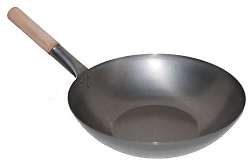 AAF Nommel ® Wok Pfanne Flacher Boden Ø 36 cm, für Gas, Induktion, Ceran und Elektro, mit Holzgriff