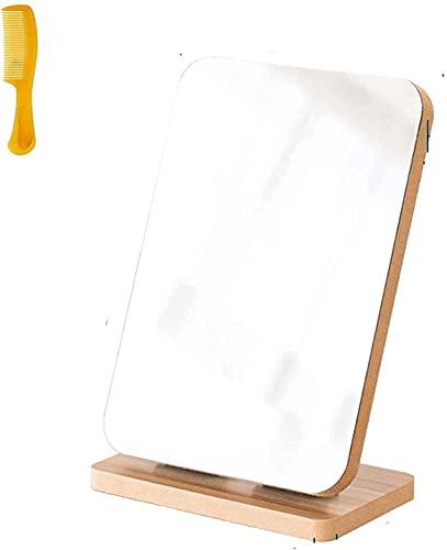 LYQQQQ Rotación Espejo de Madera Plegable Maquillaje portátil Bolsillo pequeño Compacto ángulo Ajustable Lindo 360 Grados de Escritorio
