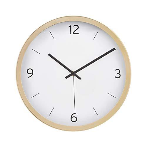 AmazonBasics - Reloj de pared moderno, horas marcadas con guion, 30,5 cm, latón