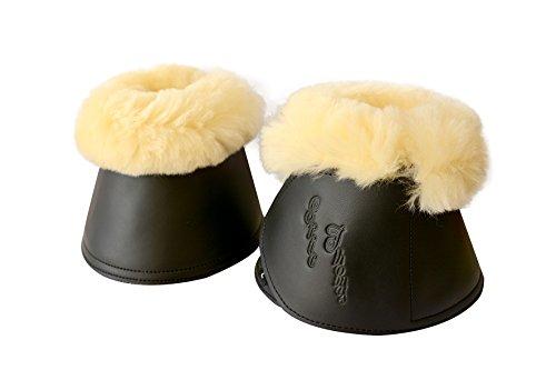 Springglocken Hufglocken mit echtem Lammfell schwarz (XL)