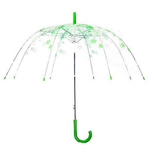 LIKEZZ Schöner Transparenter Kirschblüten-frischer Regen-Sonnenschirm-Langer Griff-Pilz-Prinzessin Romantic Umbrellas, Grün