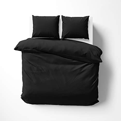 Savas Textile Premium Quality Cotton Canvas Duvet Cover Set (Black, Double (200x200cm))