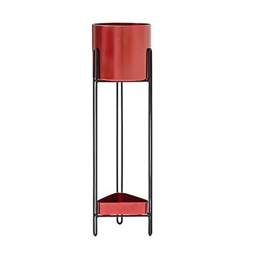 ZZHF huajia Stand de fleur, support de fleur de balcon de salon multicouche nordique d'art de sol (Couleur : Cherry red, taille : 69 * 20 * 18CM)