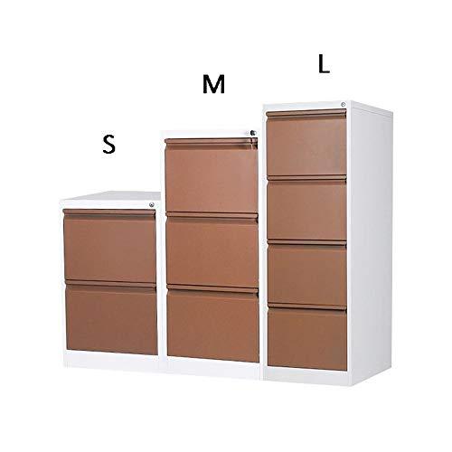 Schedario Cassettiera mobile in ferro con serratura antifurto Cassetto multistrato completamente assemblato Cassetto push-pull di grande capacità Attrezzature da Ufficio ( Color : Brown , Size : M )