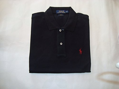 Herren Ralph Lauren Poloshirt Polohemd Polo Custom Fit Mesh Shirt schwarz kurzarm small kleiner pony Reiter rot (M)