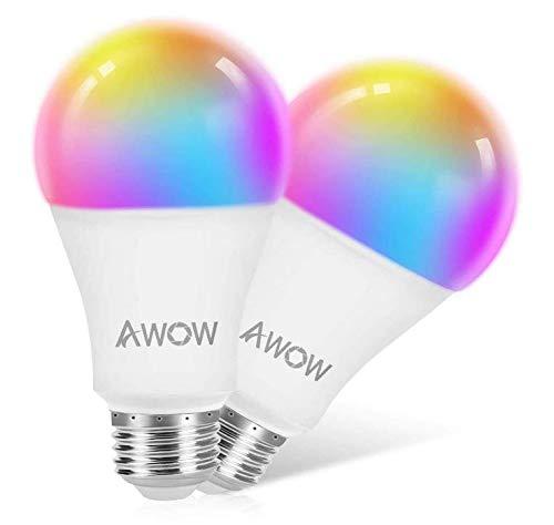 Lampadina Wi-Fi E27, Led Smart Funziona con Amazon Alexa e Google Home, 9W 800Lm, Multicolore Lampadina Controllo da remoto, RGBCW 2700-6500K, Telecomando da App [Classe di efficienza energetica A+]