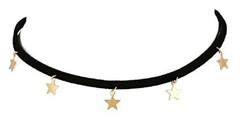 KIRALOVE Collar para Mujer - Estrellas - estrellitas - Gargantilla - Collar - Collar - niñas - Ajustable - bisutería - Joyas - Color Dorado