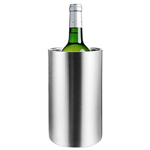Yajun Cubo Enfriador de Vino de Acero Inoxidable de Doble Pared 2L de Gran Capacidad Cubitera de Champán para Barra de Cocina el Hogar