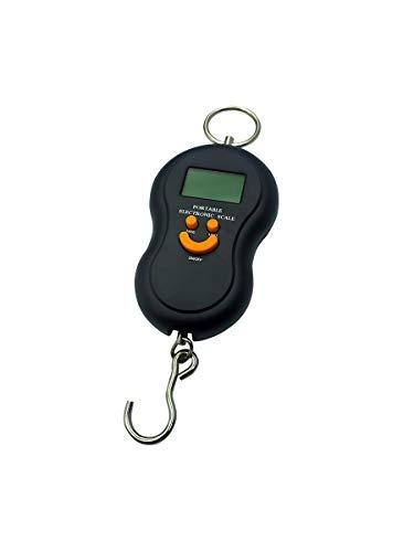 EUROXANTY® Báscula Digital de Viaje | Báscula portátil | Báscula de Equipaje | Peso máximo 50 kg | Pilas AAA Incluidas | Báscula con luz Azul | Báscula con Gancho | Color Negra