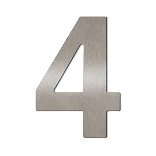 Thorwa® Design Edelstahl Hausnummer aus V2A (fein gebürstet), inkl. Montagematerial/Höhe: 16cm - 160mm (4)