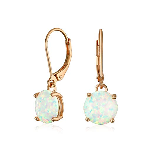Simple Round Solitaire White Created Opal Leverback Dangle Drop Earrings Rose Gold Plated 925 Sterling Silver