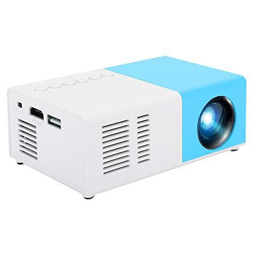 Tonysa Mini Beamer, Tragbarer Projektor, LED Heimkino, Video Media Player, Projektor mit Rack, Full HD Videoprojektor, für Unterhaltung(weiß Blau)