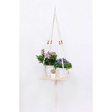 Macrame Hanging Shelf Panter Indoor/Outdoor Plant Hanger Flower Pot Holder by EXELLAR