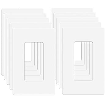 """MLLIZH 10 Pack 1-Gang Screwless Wall Plate Decora Outlet Cover Plates 4.57"""" H x 2.76"""" L for Light Switch Dimmer GFCI USB Outlet"""