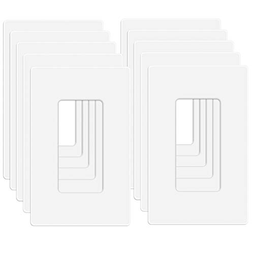 """MLLIZH 10 Pack 1-Gang Screwless Wall Plate, Decora Outlet Cover Plates, 4.57"""" H x 2.76"""" L, for Light Switch, Dimmer, GFCI, USB Outlet"""