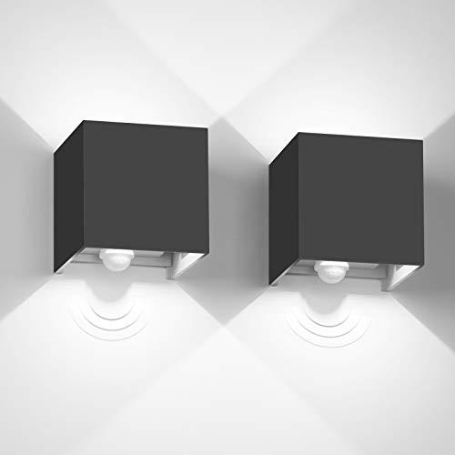 Kingwen LED Wandleuchte mit Bewegungsmelder Innen/Außen 2 Stück 12W Außenwandleuchte mit Bewegungsmelder Aussen mit Einstellbar Abstrahlwinkel 6000K Aussenleuchte mit Bewegungsmelder IP65(Schwarz)