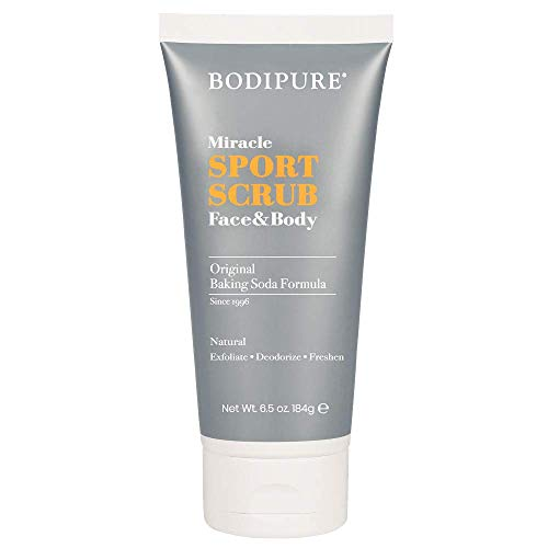 BODIPURE Daily Natural Exfoliating Face and Body Miracle Sports Scrub for Sensitive Skin – Moisturizing and Deodorizing with Baking Soda– 6.5 oz.