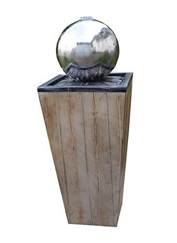 Kiom Kugelbrunnen Gartenbrunnen Brunnen FoLegno mit Edelstahlkugel 83cm 10858