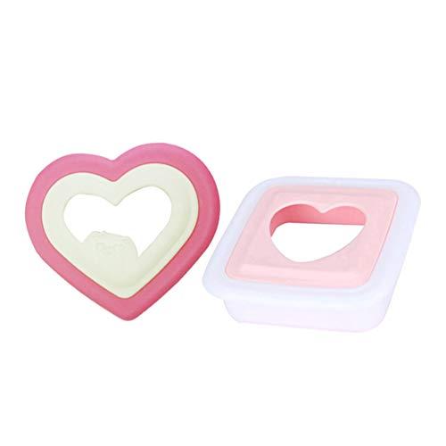 Hemoton 2 Stück Sandwich Cutter Herzförmige Sandwich Maker Kuchen Cutter Backwerkzeuge Frühstücksform (Liebe + Quadrat)